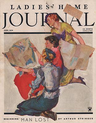 ORIG VINTAGE MAGAZINE COVER/ LADIES HOME JOURNAL - JUNE 1934illustrator- John  LaGatta - Product Image