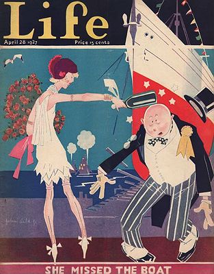 ORIG. VINTAGE MAGAZINE COVER/ LIFE - APRIL 28 1927illustrator- John  Held, Jr. - Product Image