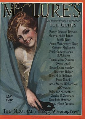 ORIG VINTAGE MAGAZINE COVER/ McCLURE'S -  MAY 1916illustrator- Clarence F.  Underwood - Product Image