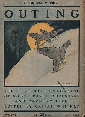 """<p class=""""ttl"""">ORIG VINTAGE MAGAZINE COVER/ OUTING - FEBRUARY 1903<p><span class=""""by"""">illustrator-</span> <span class=""""athr"""">Charles Livingston  Bull</span>"""