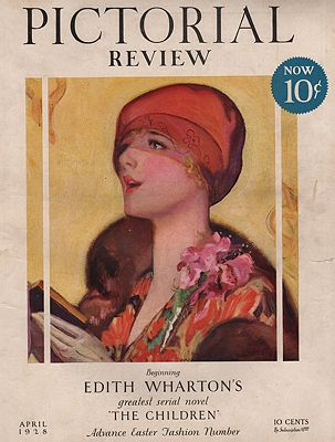 ORIG VINTAGE MAGAZINE COVER/ PICTORIAL REVIEW - APRIL 1928illustrator- McClelland  Barclay - Product Image
