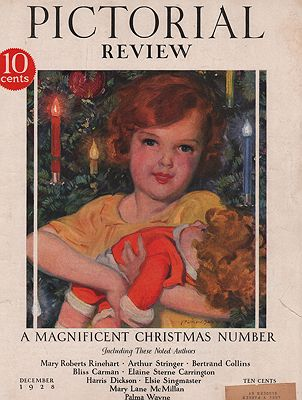 ORIG VINTAGE MAGAZINE COVER/ PICTORIAL REVIEW - DECEMBER 1928illustrator- McClelland  Barclay - Product Image