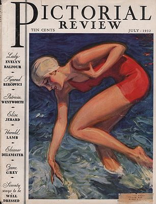 ORIG VINTAGE MAGAZINE COVER/ PICTORIAL REVIEW - JULY 1932illustrator- McClelland  Barclay - Product Image