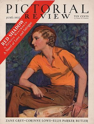 ORIG VINTAGE MAGAZINE COVER/ PICTORIAL REVIEW - JUNE 1932illustrator- McClelland  Barclay - Product Image