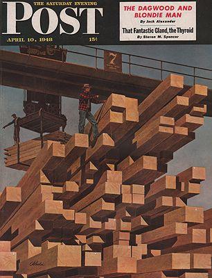 ORIG VINTAGE MAGAZINE COVER/ SATURDAY EVENING POST - APRIL 10 1948illustrator- John  Atherton - Product Image