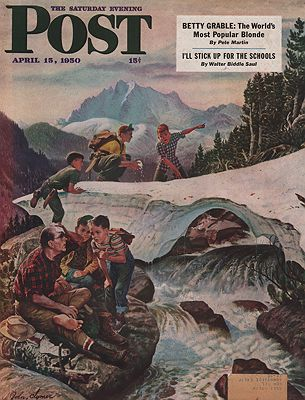 ORIG VINTAGE MAGAZINE COVER/ SATURDAY EVENING POST - APRIL 15 1950illustrator- John  Clymer - Product Image