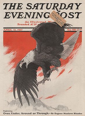 ORIG VINTAGE MAGAZINE COVER/ SATURDAY EVENING POST - APRIL 21 1917illustrator- Charles Livingston  Bull - Product Image