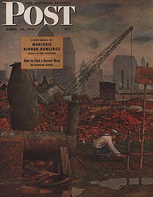 ORIG VINTAGE MAGAZINE COVER/ SATURDAY EVENING POST - APRIL 26 1947illustrator- John  Atherton. - Product Image