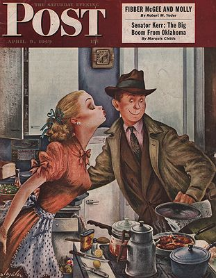 ORIG VINTAGE MAGAZINE COVER/ SATURDAY EVENING POST - APRIL 9 1949illustrator- Constantin  Alajalov - Product Image