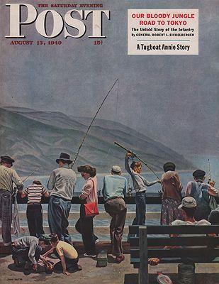 ORIG VINTAGE MAGAZINE COVER/ SATURDAY EVENING POST - AUGUST 13 1949illustrator- John  Falter - Product Image