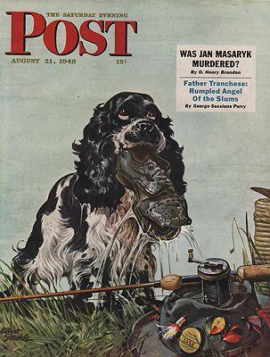 ORIG VINTAGE MAGAZINE COVER/ SATURDAY EVENING POST - AUGUST 21 1948illustrator- Albert  Staehle - Product Image