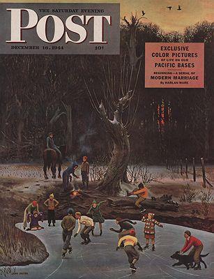 ORIG VINTAGE MAGAZINE COVER/ SATURDAY EVENING POST - DECEMBER 16 1944illustrator- John  Falter - Product Image