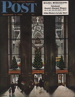 ORIG VINTAGE MAGAZINE COVER/ SATURDAY EVENING POST - DECEMBER 3 1949illustrator- John  Falter - Product Image