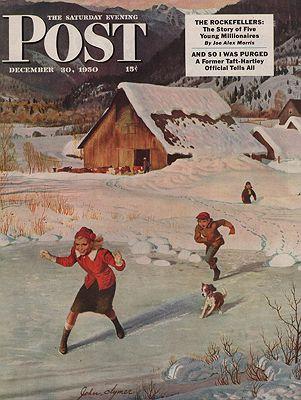 ORIG VINTAGE MAGAZINE COVER/ SATURDAY EVENING POST - DECEMBER 30 1950illustrator- John  Clymer - Product Image
