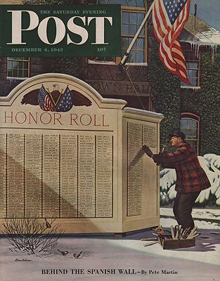 ORIG VINTAGE MAGAZINE COVER/ SATURDAY EVENING POST - DECEMBER 4 1943illustrator- Stevan  Dohanos - Product Image