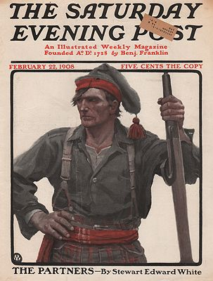 ORIG VINTAGE MAGAZINE COVER/ SATURDAY EVENING POST - FEBRUARY 22 1908illustrator- N.C.  Wyeth - Product Image