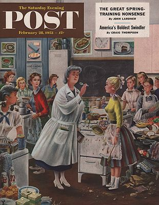 ORIG VINTAGE MAGAZINE COVER/ SATURDAY EVENING POST - FEBRUARY 28 1953illustrator- Constantin  Alajalov - Product Image