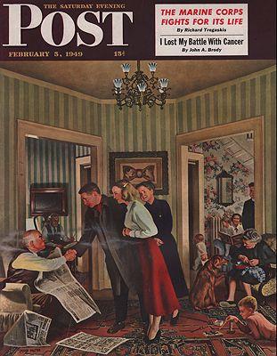 ORIG VINTAGE MAGAZINE COVER/ SATURDAY EVENING POST - FEBRUARY 5 1949illustrator- John  Falter - Product Image