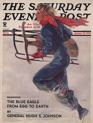 ORIG VINTAGE MAGAZINE COVER/ SATURDAY EVENING POST - JANUARY 19 1935illustrator- John  LaGatta - Product Image