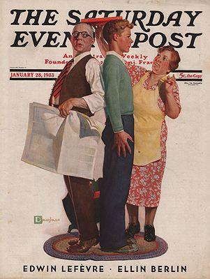 ORIG VINTAGE MAGAZINE COVER/ SATURDAY EVENING POST - JANUARY 28 1933illustrator- Douglas  Crockwell - Product Image