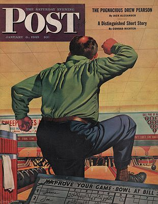 ORIG. VINTAGE MAGAZINE COVER/ SATURDAY EVENING POST - JANUARY 6 1945illustrator- Stanley  Ekman - Product Image