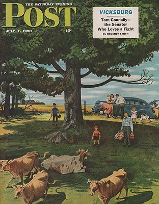ORIG VINTAGE MAGAZINE COVER/ SATURDAY EVENING POST - JULY 1 1950illustrator- Stevan  Dohanos - Product Image