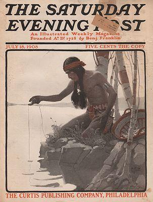 ORIG VINTAGE MAGAZINE COVER/ SATURDAY EVENING POST - JULY 18 1908illustrator- N.C.  Wyeth - Product Image