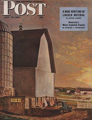 ORIG VINTAGE MAGAZINE COVER/ SATURDAY EVENING POST - JULY 19 1947illustrator- John  Atherton - Product Image