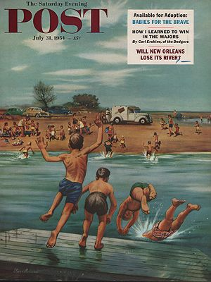 ORIG VINTAGE MAGAZINE COVER/ SATURDAY EVENING POST - JULY 31 1954illustrator- Stevan  Dohanos - Product Image