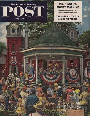 ORIG VINTAGE MAGAZINE COVER/ SATURDAY EVENING POST - JULY 7 1951illustrator- Stevan  Dohanos - Product Image