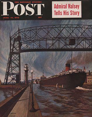 ORIG VINTAGE MAGAZINE COVER/ SATURDAY EVENING POST - JUNE 14 1947illustrator- John  Atherton - Product Image