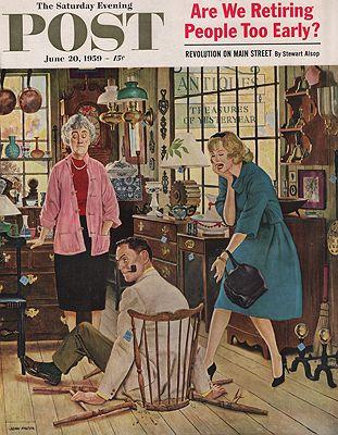 ORIG. VINTAGE MAGAZINE COVER/ SATURDAY EVENING POST - JUNE 20 1959illustrator- John  Falter - Product Image