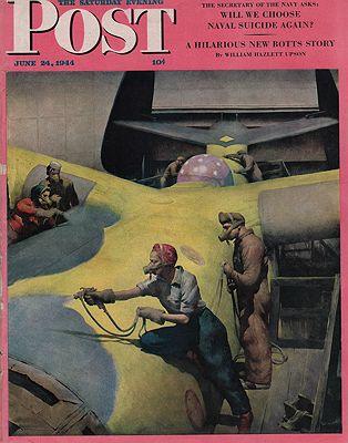 ORIG VINTAGE MAGAZINE COVER/ SATURDAY EVENING POST - JUNE 24 1944illustrator- Robert  Riggs - Product Image