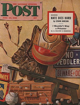 ORIG VINTAGE MAGAZINE COVER/ SATURDAY EVENING POST - JUNE 30 1945illustrator- John  Atherton - Product Image