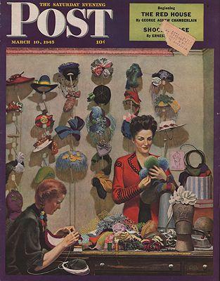 ORIG VINTAGE MAGAZINE COVER/ SATURDAY EVENING POST - MARCH 10 1945illustrator- John  Falter - Product Image