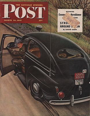 ORIG VINTAGE MAGAZINE COVER/ SATURDAY EVENING POST - MARCH 24 1945illustrator- Stevan  Dohanos - Product Image