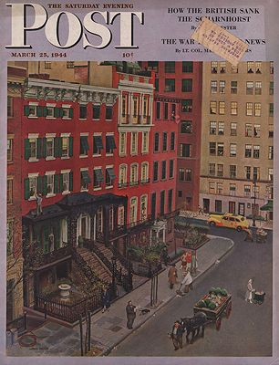 ORIG VINTAGE MAGAZINE COVER/ SATURDAY EVENING POST - MARCH 25 1944illustrator- John  Falter - Product Image