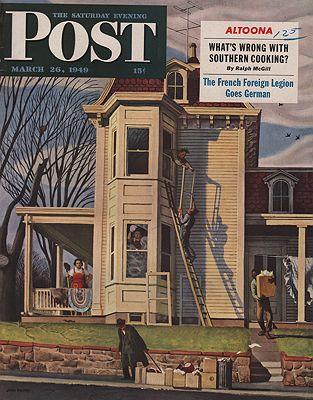 ORIG VINTAGE MAGAZINE COVER/ SATURDAY EVENING POST - MARCH 26 1949illustrator- John  Falter - Product Image