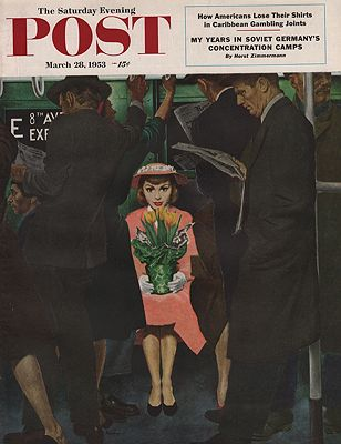 ORIG VINTAGE MAGAZINE COVER/ SATURDAY EVENING POST - MARCH 28 1953illustrator- George  Hughes - Product Image
