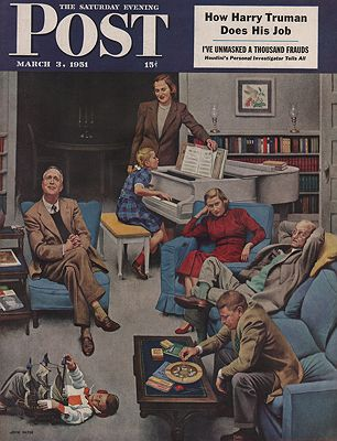 ORIG VINTAGE MAGAZINE COVER/ SATURDAY EVENING POST - MARCH 3 1951illustrator- John   Falter - Product Image