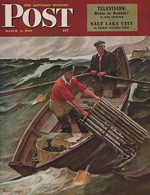 ORIG VINTAGE MAGAZINE COVER/ SATURDAY EVENING POST - MARCH 9 1946illustrator- Mead  Schaeffer - Product Image