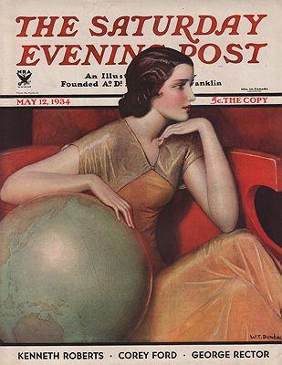 ORIG VINTAGE MAGAZINE COVER/ SATURDAY EVENING POST - MAY 12 1934illustrator- W.T.  Benda - Product Image