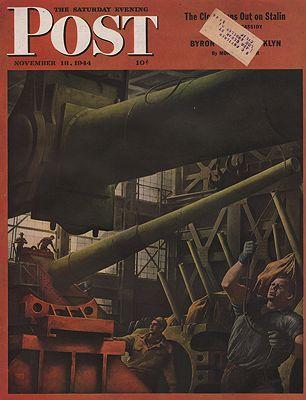 ORIG VINTAGE MAGAZINE COVER/ SATURDAY EVENING POST - NOVEMBER 18 1944illustrator- Robert  Riggs - Product Image