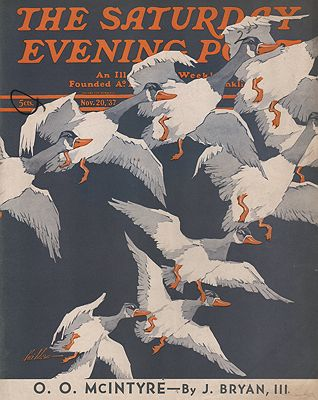 ORIG VINTAGE MAGAZINE COVER/ SATURDAY EVENING POST - NOVEMBER 20 1937illustrator- Ski  Weld - Product Image