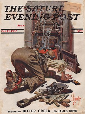 ORIG VINTAGE MAGAZINE COVER/ SATURDAY EVENING POST - OCTOBER 15 1938illustrator- J.C.  Leyendecker - Product Image