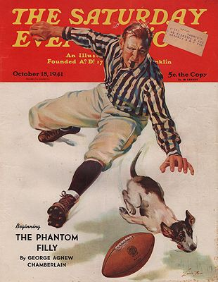 ORIG. VINTAGE MAGAZINE COVER/ SATURDAY EVENING POST - OCTOBER 18 1941illustrator- Lonie  Bee - Product Image