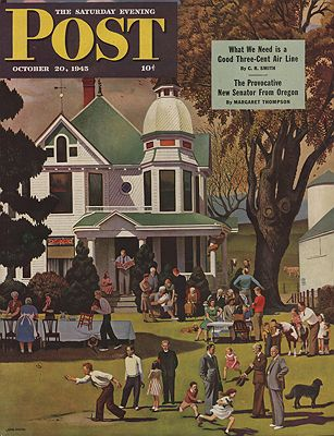 ORIG VINTAGE MAGAZINE COVER/ SATURDAY EVENING POST - OCTOBER 20 1945illustrator- John  Falter - Product Image