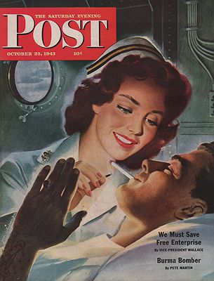 ORIG VINTAGE MAGAZINE COVER/ SATURDAY EVENING POST - OCTOBER 23 1943illustrator- Jon  Whitcomb - Product Image