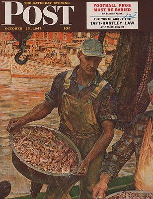 ORIG VINTAGE MAGAZINE COVER/ SATURDAY EVENING POST - OCTOBER 25 1947illustrator- Mead  Schaeffer - Product Image