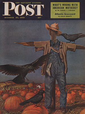 ORIG VINTAGE MAGAZINE COVER/ SATURDAY EVENING POST - OCTOBER 26 1946illustrator- John  Atherton - Product Image